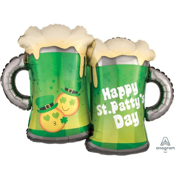 St. Patty's Day Emoticon Mugs SuperShape Foil Balloon